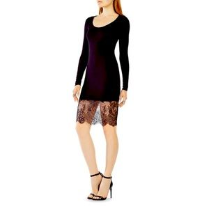 BCBGMaxAzria Womens Dress Lace-Trim Long Sleeves